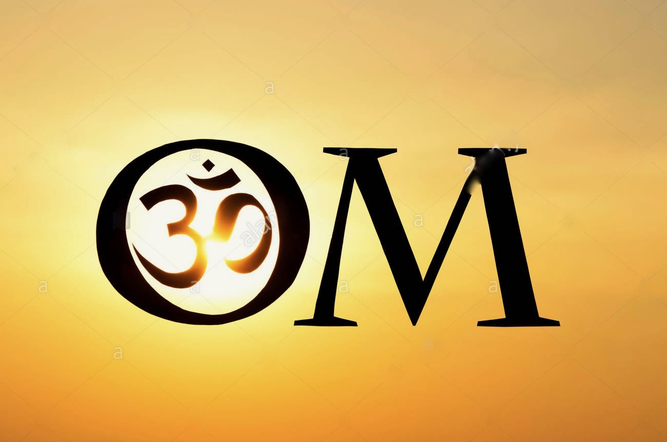 Hindu Om Aum Symbol Silhouette At Sunset In